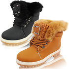 NEW CHILDRENS GIRLS LOW HEEL FLAT FUR LINED WINTER LACE UP ANKLE BOOTS SIZE BOYS