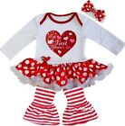 Baby My First Valentine's Day Red  Polka Dots Bodysuit Tutu Dress Pants Outfit