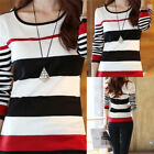Women Blouse Fashion T-shirts Shirt Tops Tees Long Sleeve Slim Striped Pullover