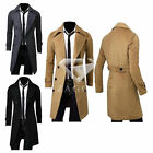 New Men's Slim Warm Trench Coat Jacket Double Breasted Overcoat Outwear M-XXXL