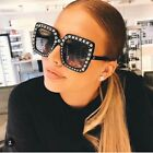 NEW Oversized Square Frame Bling Rhinestone Sunglasses Women Fashion Shades US