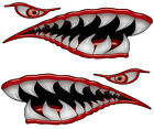 Flying Tigers Shark Teeth Decals Red WWII Motorcycle Truck Car Boat REFLECTIVE