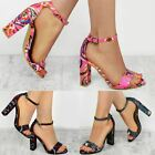Womens Floral Summer Mid High Heel Party Sandals Wedding Bridal Size New
