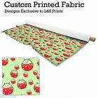 GREEN LADYBIRD PRINTED FABRIC PER METRE LYCRA SATIN JERSEY CHIFFON FROM £15.99
