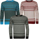 Mens Soulstar Argyle Stripe Knit Winter Jumper Pullover Sweatshirt Top Size