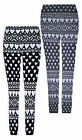 New Ladies Warm Thick Chunky Womens Ribbed Knitted Love Heart Leggings UK SM M/L