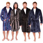 Mens Hooded Dressing Gown Shawl Collar Luxury Nightwear Bathrobe Plus Size New