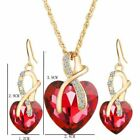 Heart Jewelry Set Gold Plated Crystal Necklace Pendant Earrings Womens Fashion
