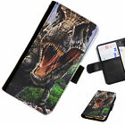 DINO03 T-REX DINOSAUR PRINTED LEATHER WALLET/FLIP CASE COVER FOR MOBILE PHONE