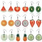 9Pairs/Set 3D Double-Side Cute Fruit Strawberry Orange Dangle Hook Earrings Gift