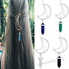 Fashion Women Alloy Moon Hair Clip Natural Stone Pendant Charms Clamp Hairpin