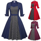 Women Dress Dot Cocktail Casual Bp Vintage Sweetheart Patchwork Party Polka 3/4