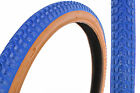"PAIR 20 x 2.125 OLD SCHOOL BMX ""SNAKE BELLY"" TYRES BLUE AMBERWALL (GUMWALLS)"