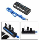 New 4 Port USB 3.0 Hub On/Off Switches + AC Power Adapter Cable for PC Laptop QE