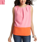 NWT NEW Ann Taylor Colorblocked cacoon shell blouse Top Sz XS P, MP