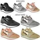 Womens Girls Kids Bali Runners Trainers Lace Up Sneakers Diamante Pumps Size