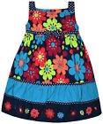 Girls New Floral Embroidered Party Dress Kids Summer 100% Cotton Sizes 2 3 4 Yrs