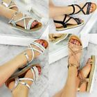 Womens Ladies Diamante Flat Sandals Summer Party Holiday Toe Espadrilles Size