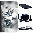 (BG0260) FUNNY CAT WITH BLUE EYES LEATHER WALLET PHONE CASE PHONE COVER