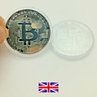 NEW SOLITARY SINGLE Bitcoin Bullion Commemorative Silver Plated Coin Gift UK