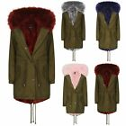 NEW WOMENS FULL FUR LINED LADIES HOODED PARKA  JACKET COAT FISHTAIL  OVERCOAT