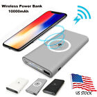 10000mAh Power Bank Qi Wireless Fast Charging USB LED Battery Charger For iphone