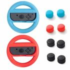 For Nintendo Switch Red+Blue Joy-Con Steering Wheel Handle Grip + 4-pc Caps