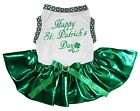 Happy St.Patrick's Day White Cotton Top Bling Green Tutu Pet Dog Puppy Dress