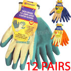 12 PAIRS LATEX COATED NYLON WORK GLOVES SAFETY GARDEN GRIP BUILDERS QUALITY NEW