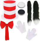 CHILDS CRAZY CAT COSTUME SET WORLD BOOK DAY HAT GLOVES BOW TIE TAIL FANCY DRESS