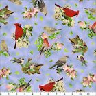 "QT ""SONGS OF NATURE"" ""26366-B TOSSED RED MIXED BIRDS FLORAL FABRIC- SELECT SIZE"