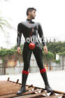 Black Rubber Latex Catsuit with Red Trim Man Turtle Collar Sexy Rubber Leotard