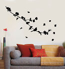 Vinyl Wall Decal Silhouette Beautiful Bird On Branch Flowers Stickers (2419ig)