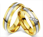 Fashion Stainless Steel Promise Love Gold two lines design Love Couple Rings