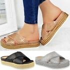 gold flatforms - Womens Ladies Diamante Slip On Sandals Flatforms Sparkly Platform Summer Size UK