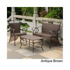 3 PC Patio Set Resin Wicker Steel Settee Antique Brown Outdoor Garden Furniture