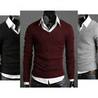 Gentle Men Casual Slim Fit V-neck Knitted Cardigan Pullover Jumper Sweater Tops