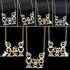 Mother's Day Family Mom Dad Child Stainless Steel Pendant Necklace Jewelry Gift