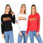 "New Women's Ladies Slogan ""BRKLYN"" Print on Front & Arms Cotton Sweatshirts Top"