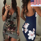 US Women Bandage Bodycon Floral Printed Evening Party Cocktail Club Mini Dress