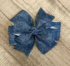 Denim Pinwheel Hair Bow