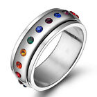 Woman's Size 5-12 Chic Stainless Steel Rainbow Fashion Spinner Les Rings Gift