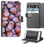 HAIRYWORM BROWN CHESTNUTS HAZEL NUTS LEATHER WALLET PHONE CASE, FLIP CASE, COVER