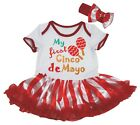 My First Cinco De Mayo White Cotton Bodysuit Red Striped Baby Dress NB-18M