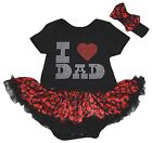 Father's Day I Love Dad Black Cotton Bodysuit Red Lips Baby Dress NB-18M