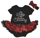 Daddy Is My Prince Charming Black Bodysuit Red Lips Baby Dress NB-18M