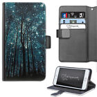 HAIRYWORM TREES AND STARRY GALAXY NIGHT SKY LEATHER WALLET PHONE CASE, FLIP CASE