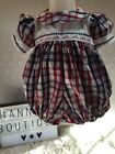 HANNAHS BOUTIQUE BABY BOYS SPANISH CHECK EMBROIDERED ROMPER/BUBBLE 0-3 MONTHS