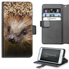 HAIRYWORM ANIMAL BROWN HEDGEHOG FACE LEATHER WALLET PHONE CASE, FLIP CASE, COVER