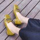 women's chain slip on patent leather block chunky heel court shoes office ladies